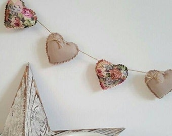 Hand Made Shabby Chic 7 Heart fabric Garland Bunting Beige Vintage Rose