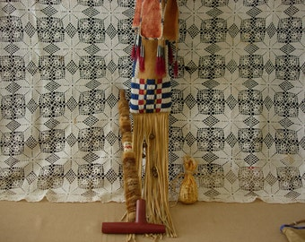 1800's Cheyenne Style Beaded Pipe Bag and Pipe Complete