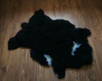 New Luxurious Organic Sheepskin Rug Black XL