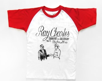 T-SHIRT Ray Charles / / album country and western meets rhythm & blues / / HOMEMADE