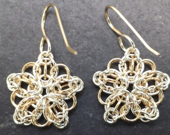 Celtic Star Earrings in Sterling Silver & 14kt Gold FIll