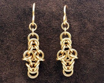 Byzantine Cross Chainmail Earrings - 14kt Gold Fill