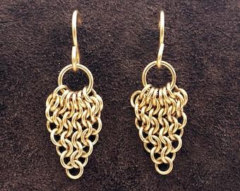 European Leaf Chainmail Earrings - 14kt Gold Fill