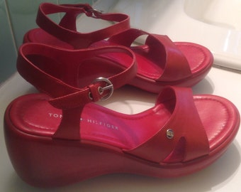 Tommy Hilifiger red platform sandals size 7.5 ~Free shiping !