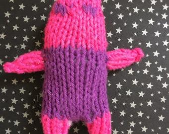 Pink headed Catnip Stuffed Hand Knit Cat Toy