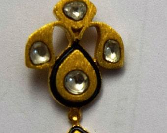 white topaz slice and vermeil pendant