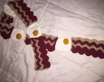 Bacon and Eggs Breakfast Scarf Fuller House Gibbler inspired crochet