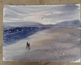 A Walk on the Beach Watercolour Original