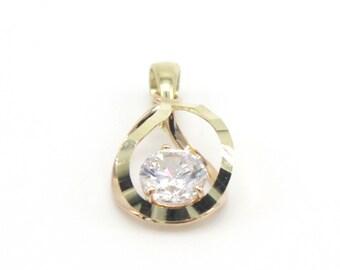 14k Solid Yellow&Rose Gold Earrings,Pendant Set Charming Water Drop Design