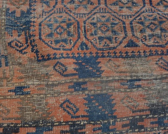 6'6 x 4'1 Foot Antique 1800's dated AFGHAN Handmade Baluch Yakhall rug , Baluch rug , Antique rug , 1800's rug , Low Pile rug