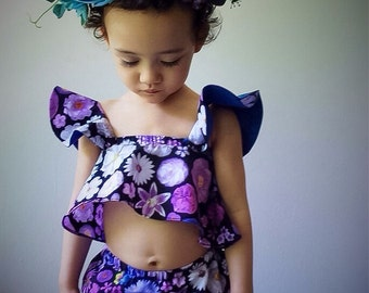 Sets Crop Top Bloomers Blossom Blooming in Purple