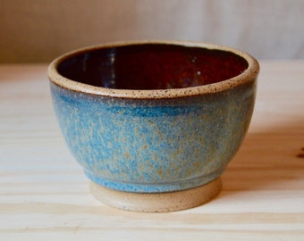 SALE! Medium Full Pool pot - blue and amber glazes on tan clay