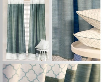 Blue & White Lattice Silk Curtains and Pillow Covers