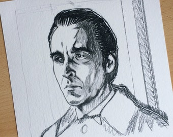 Limited edition Art Print of Christopher Lee from the original pencil sketch by Chris Naylor