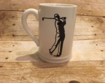 Personalized Tall Mugs . Golfer and custom name