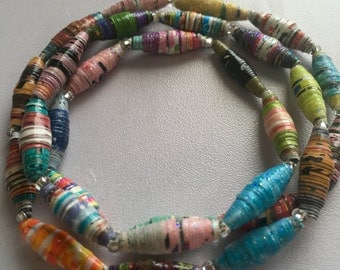 Rolled Paper Beads w/ Clear Beads Wrap Bracelet #3
