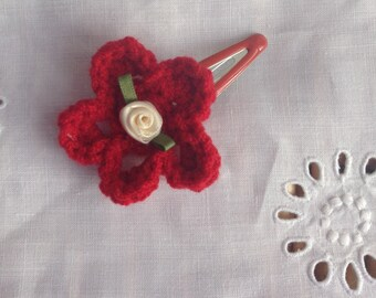 Hand crocheted flower clip