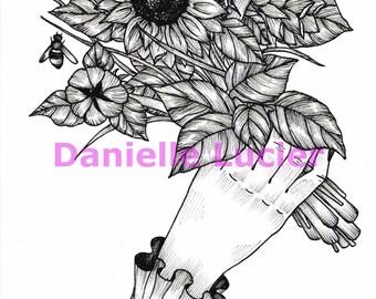 Sunflower Bouquet Original Print