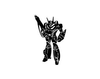 Robotech Macross Vinyl Sticker. Rick Hunter's Valkyrie in Battloid mode. Retro Anime nerd humor for your bumper or windows. Dork love