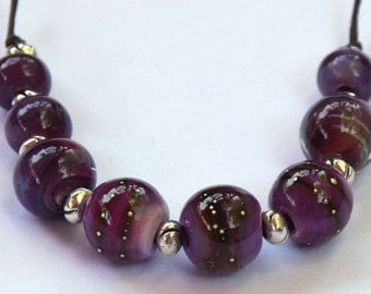 Purple Lampwork Beads.  Handmade Lampwork Beads.   Purple Lampwork Beads with Fine Silver Dots.  Supplies for Jewelry.
