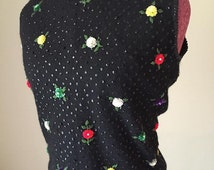 Hand bead 1960s Cyn Les floral blouse sweater volup