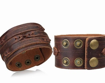 Wide 3 Strap Hand stitched Brown Genuine Leather Cuff Bracelet! Brown leather wrap around cuff! Johnny Depp style ,use as tattoo cover! C-2