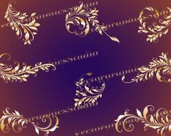 Calligraphy Swirls clipart Digital Clip art floral swirls - transparent decorative swirl