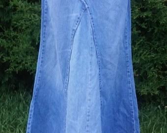 Upcycled jean hippy skirt