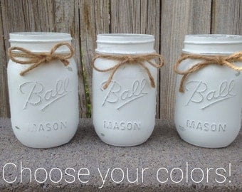 CHOOSE YOUR COLORS ** Set of 3 painted and distressed mason jars