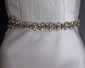 Crystal embellished wedding sash, Floral belt sash, Silver rhinestone wedding belt, Bridal Belt, Ivory, White, 6