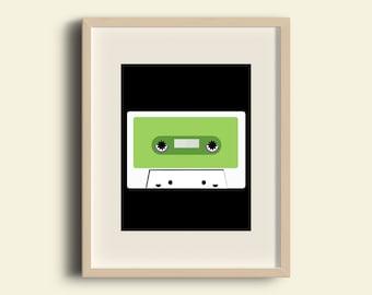 Lime Green Cassette Tape- 80s Printable Art-80s- 1980s- Modern Art- 80s Wall Art - Mix Tape