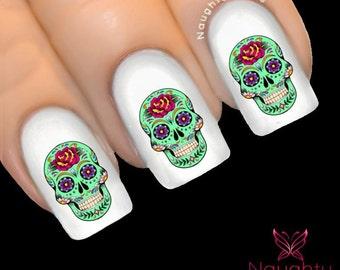 BERNADETTE Sugar Skull Nail Water Transfer Decal Sticker Art Tattoo Day of Dead NNC-143