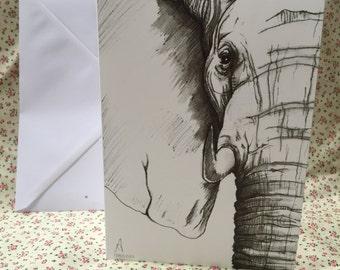A5 elephant greetings card