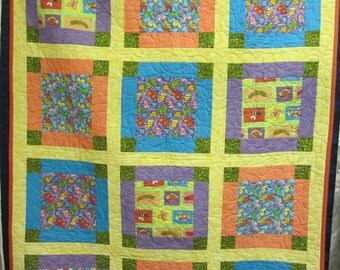 Child's quilt, handmade quilt, baby quilt, boy, girl, gift, baby rug,baby shower, cuddle rug, floor rug, cot quilt, childs bed quilt