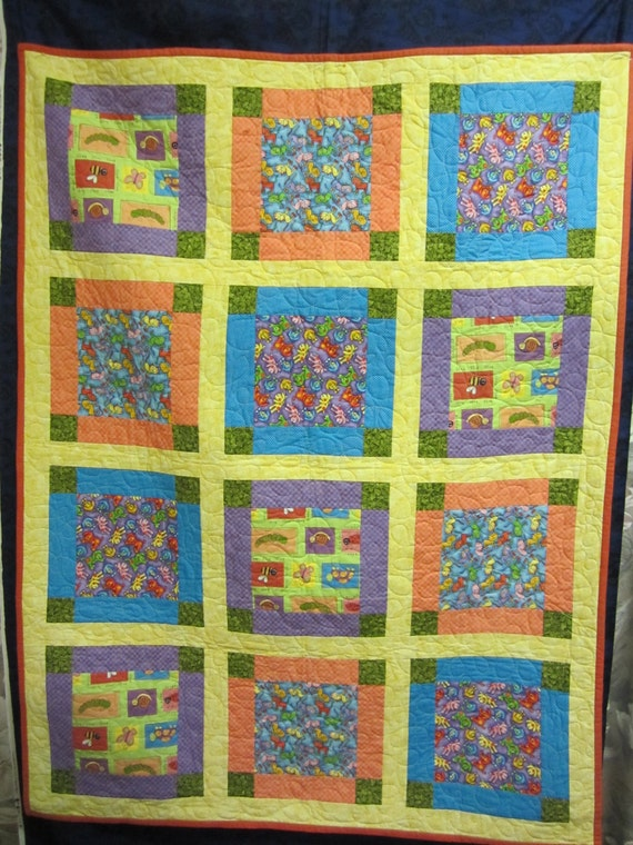 Child 39 s quilt handmade quilt baby quilt boy girl for Floor quilt for babies