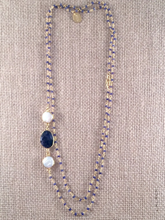 "Rosary Beaded Sapphire Necklace-Sapphire & Baroque Freashwater Pearl gemstones -22K Goldplated-44"" long-Double Wrap-Layer- LINDOS 11"