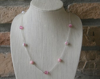 Breast Cancer Necklace| Think Pink| Pink Ribbon | Cancer Awareness | Long Necklace | Breast Cancer Month | Sympathy Gift | Layering Necklace