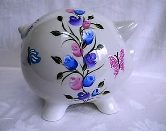Piggy bank,hand painted piggy bank, personalized piggy bank,roses and butterflies, childrens banks, large piggy bank, adult piggy banks