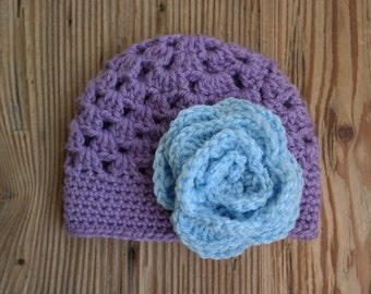 Crochet Baby Girl Hat with Flower (Any Color)