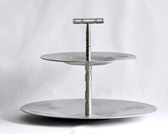 Vintage Aluminum Two-tiered Dessert Tray / Embossed Aluminum Tiered Party Tray / Two-tiered Pine Cones Cake Plate /  Wedding Cake Plate