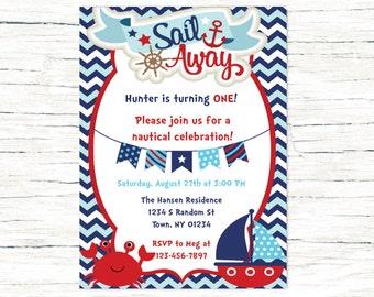 Nautical Birthday Invitation, Sailboat Invitation, Nautical Birthday, Anchor Invitation