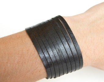 Wide Leather  Coil Cuff-- Soft Black Coil Leather Bracelet-- Faux Stacked Bangles Leather Cuff