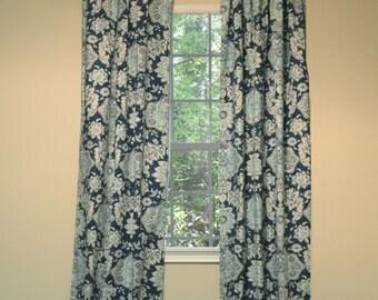 Curtain Panel Navy Print