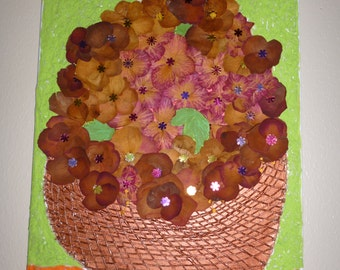 Basquet made with dried flowers