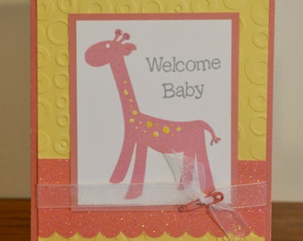 Welcome Baby Pink Giraffe Greeting Card
