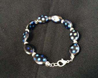 Black with Blue Spots Beaded Bracelet