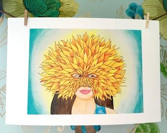 Woman in a Sun Mask Watercolor Art Print