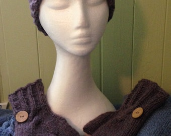 """CLEARANCE set headband and fingerless gloves knit 100% wool woman model """"Charly"""""""