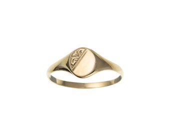 9ct Yellow Gold Children's Half Engraved Oval Signet Ring - UK Sizes C - K US Sizes 1.5 - 5.5
