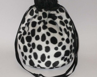 Dalmation Animal Print Faux Fur Dolly Bag / Purse/ Evening Handbag With Black Satin Ribbon